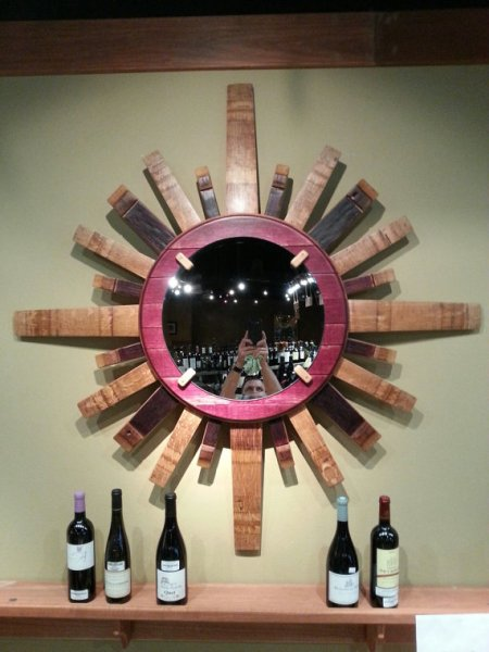 Sunburst Wine Barrel Stave Mirror