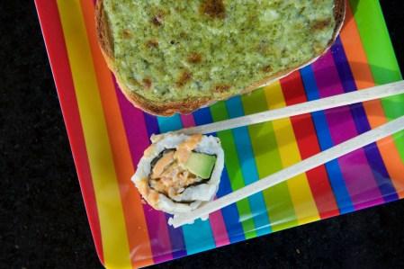 Basil Pesto Toasts & Spicy Sushi Rolls