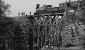 Bridge on Orange & Alexandria Railroad, as repaired by Union Army engineers under Col. Herman Haupt. (Attributed to Andrew J. Russell/Library of Congress via Wikipedia)