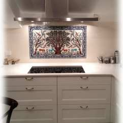 Kitchen Tile Murals White Cast Iron Sink The Olive Tree Of Jerusalem Ceramics Mural Balian Studio Hand Painted Backsplash