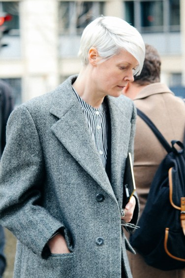 Kate Lanphear in Grey at Fashion Week street style