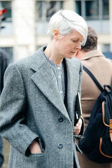 Kate Lanphear in Grey at Fashion Week street style
