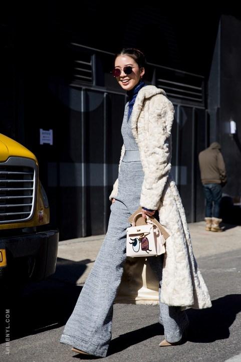 Irene Kim at NYFW Feb 2016 outside Derek Lam