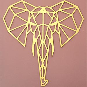 Tête d'Éléphant - 65/61 cm - Doré en Bois