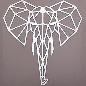 Tête d'Éléphant - 65/61 cm - Argent en Bois