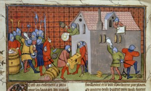 The dangers of mercenaries: soldiers pillaging a house in the late 14th c. (British Library Royal Ms. 20 C VII, f 41v.)
