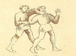 A reverse throw, employing a wrist hold and neck crank.