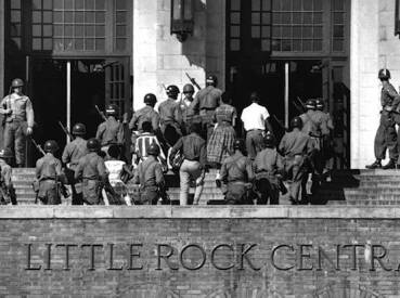 Image result for 1957 – President Dwight D. Eisenhower sends 101st Airborne Division troops to Little Rock, Arkansas, to enforce desegregation