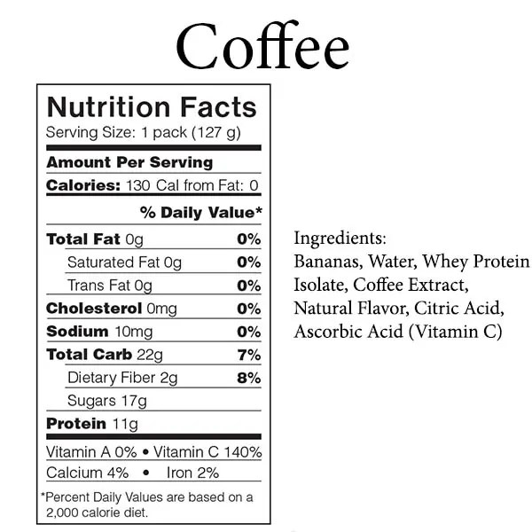 Folgers Instant Coffee Nutrition Label