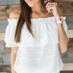 8. White Linen Off the Sholder Top $56