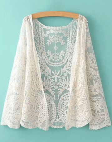 15. RoseGal - See Through Leaves Pattern Lace Long Sleeve Blouse $15.46