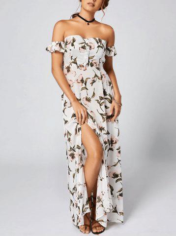 2. RoseGal - Off Shoulder Floral Maxi Bandeau Dress - White $18.31
