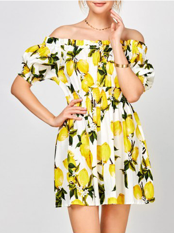 7. RoseGal - Off The Shoulder Lemon Print Summer Dress $20.39