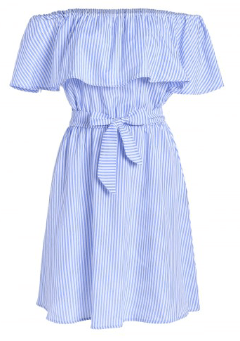9. RoseGal - Off The Shoulder Tie Waist Stripe Dress - Light Blue $14.56