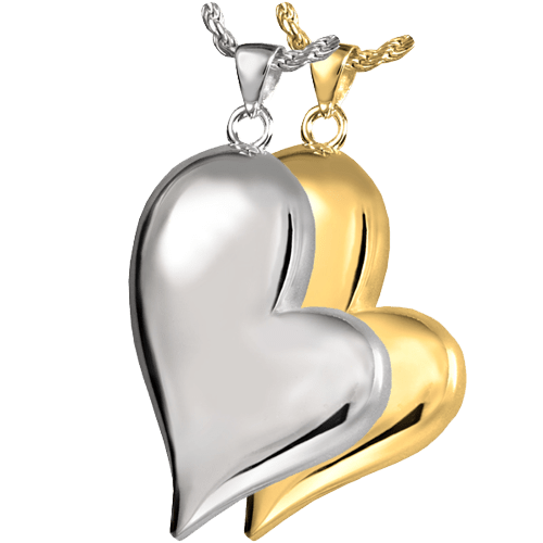 Gold plated and sterling silver asymmetrical heart shaped pendant