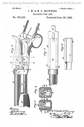 John Browning Patent 385238 The Winchester Model 1890 .22
