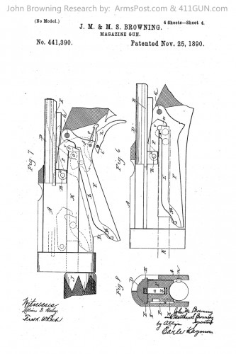 John Browning Patent 441390 The Winchester Model 1893