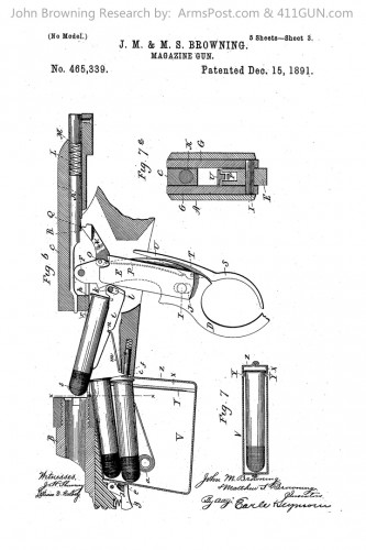 John Browning Patent 465339 The Winchester Model 1892
