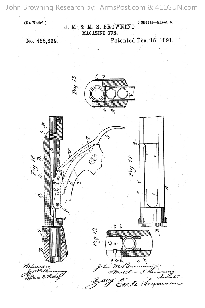 John Browning Winchester Model 1892 US Patent 465339