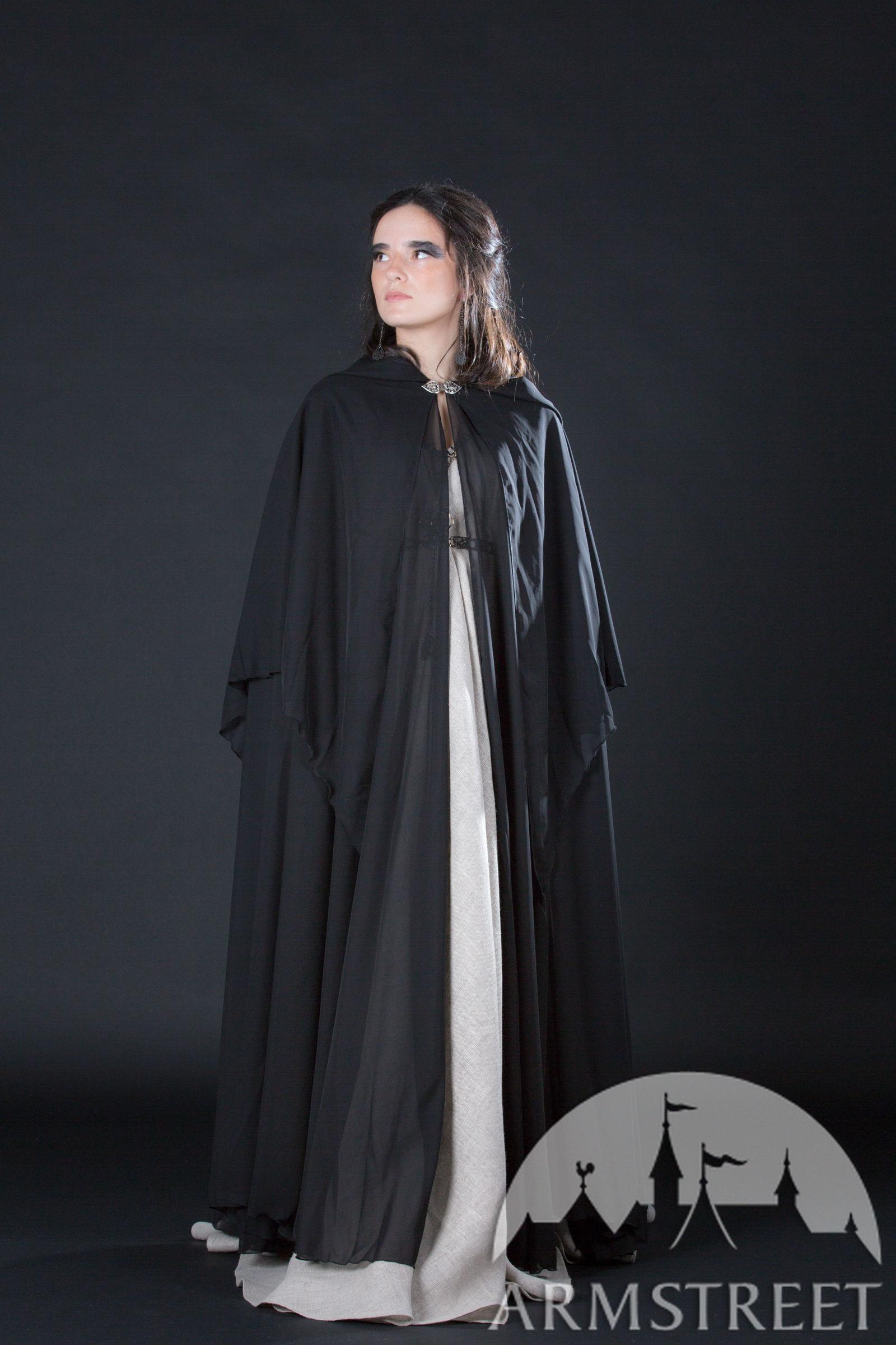 Black semitransparent medieval fantasy cloak robe for
