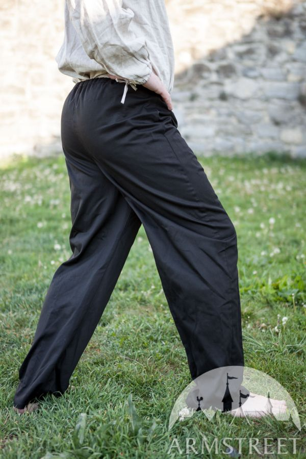 Black Cotton Medieval Pants In Dark