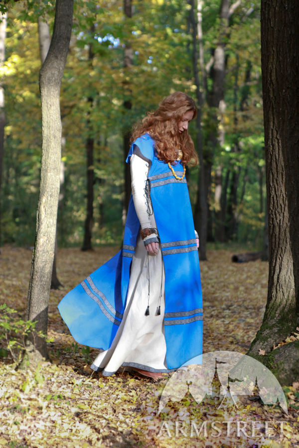 Medieval natural overcoat flax linen surcoat costume for