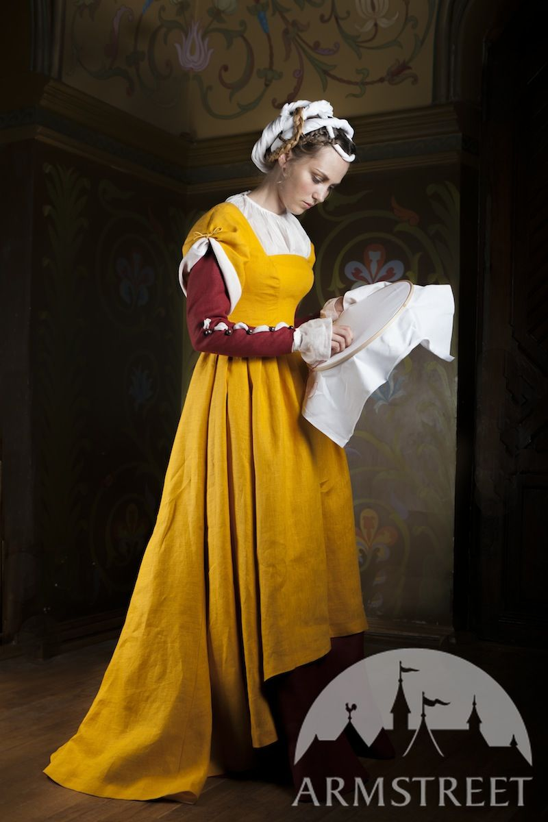 Kirtle Dress Underdress Chemise Central Europe XVI century costume Available in green flax