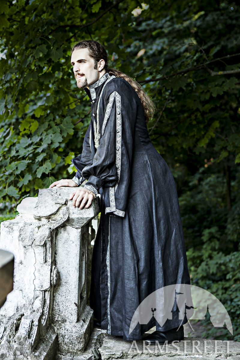 Eastern Europe Linen Overcoat Costume Available In Green