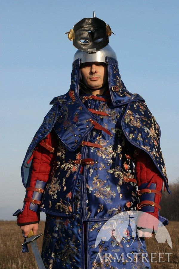 Deluxe armor korea mongol suit armour sca for sale Available in blue flax linen yellow flax
