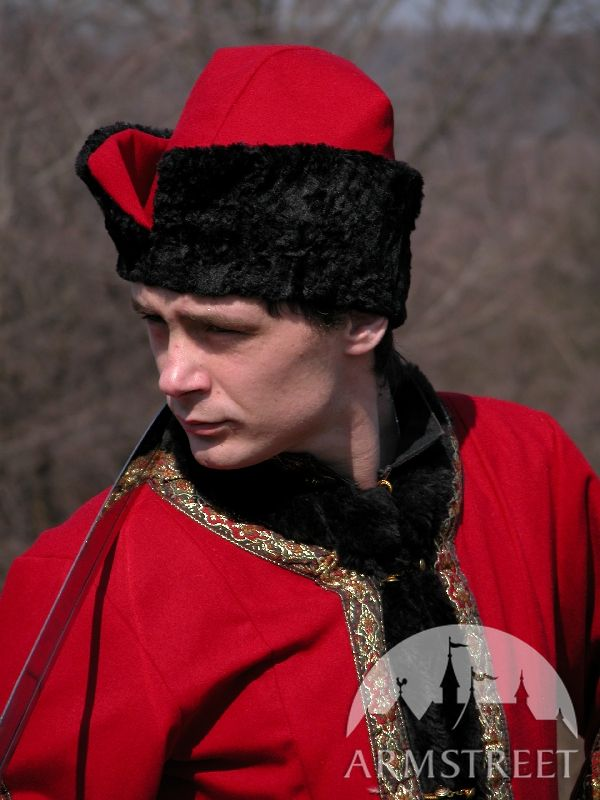 Medieval woolen exclusive Polish Szlachta costume for sale Available in black wool red wine