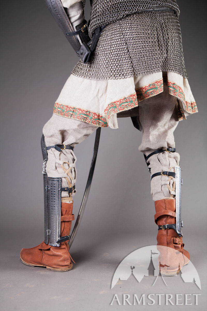 Medieval Rus Slavic Greaves Armour with Knee Cops