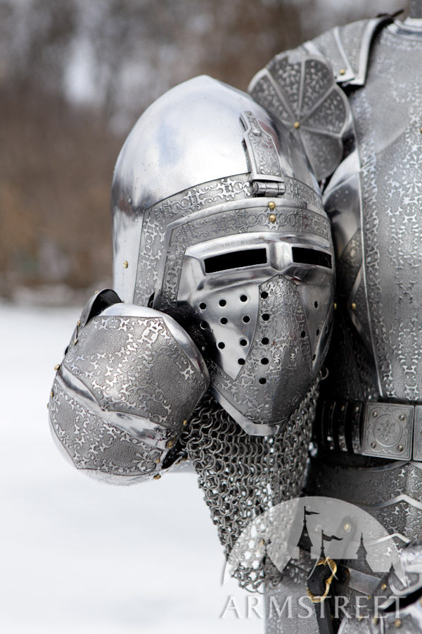 Medieval Heavy Etched Bascinet Helm for sale Available in stainless steel 16 ga 15 mm