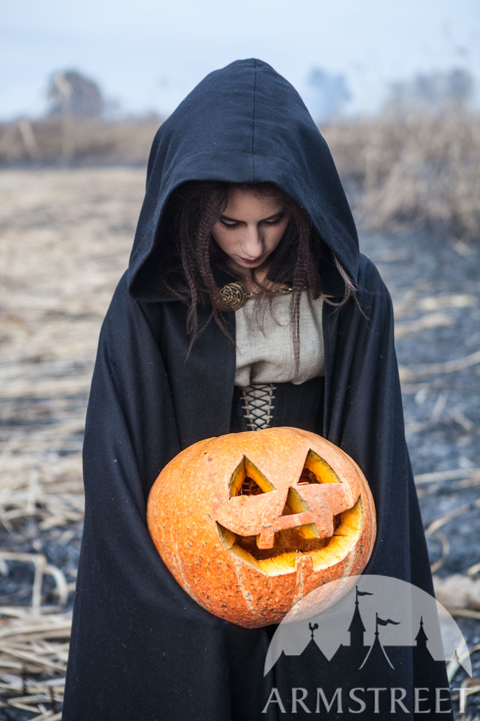 Halloween Cloak  Hooded Black Cloak Halloween Edition Available in black wool deckle edged