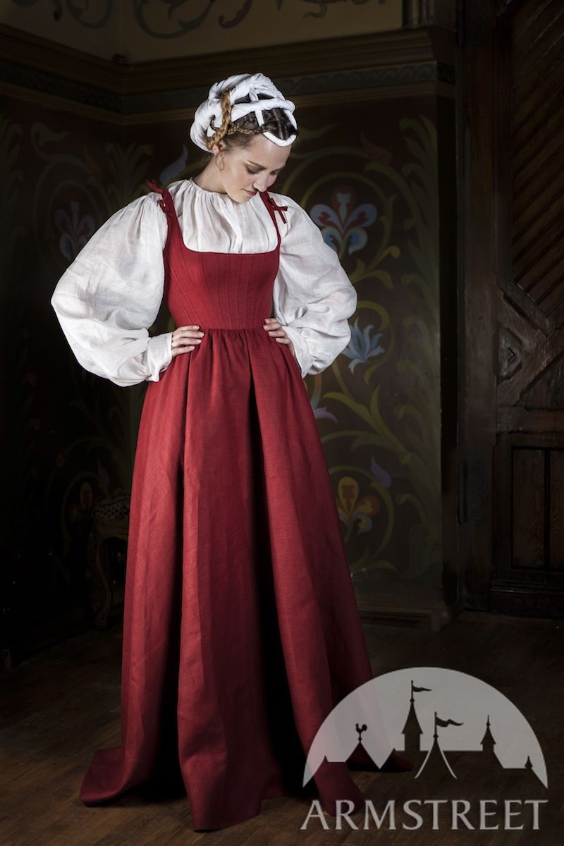 Kirtle Medieval Dress Traditional Garb Available in green flax linen blue flax linen yellow
