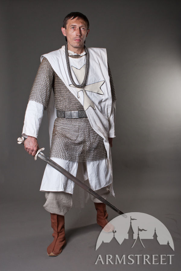 Knight Crusader Medieval Tabard with White Crosses for