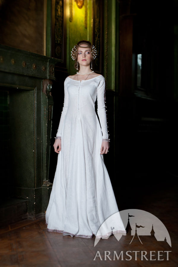 Medieval linen flax chemise for sale Available in white