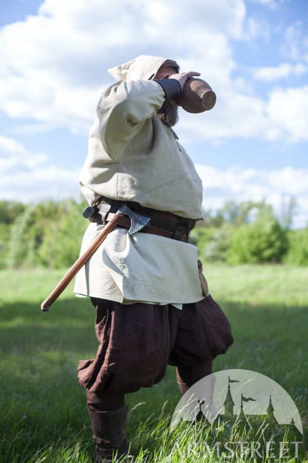 Linen Viking Pants. In Green Flax Blue