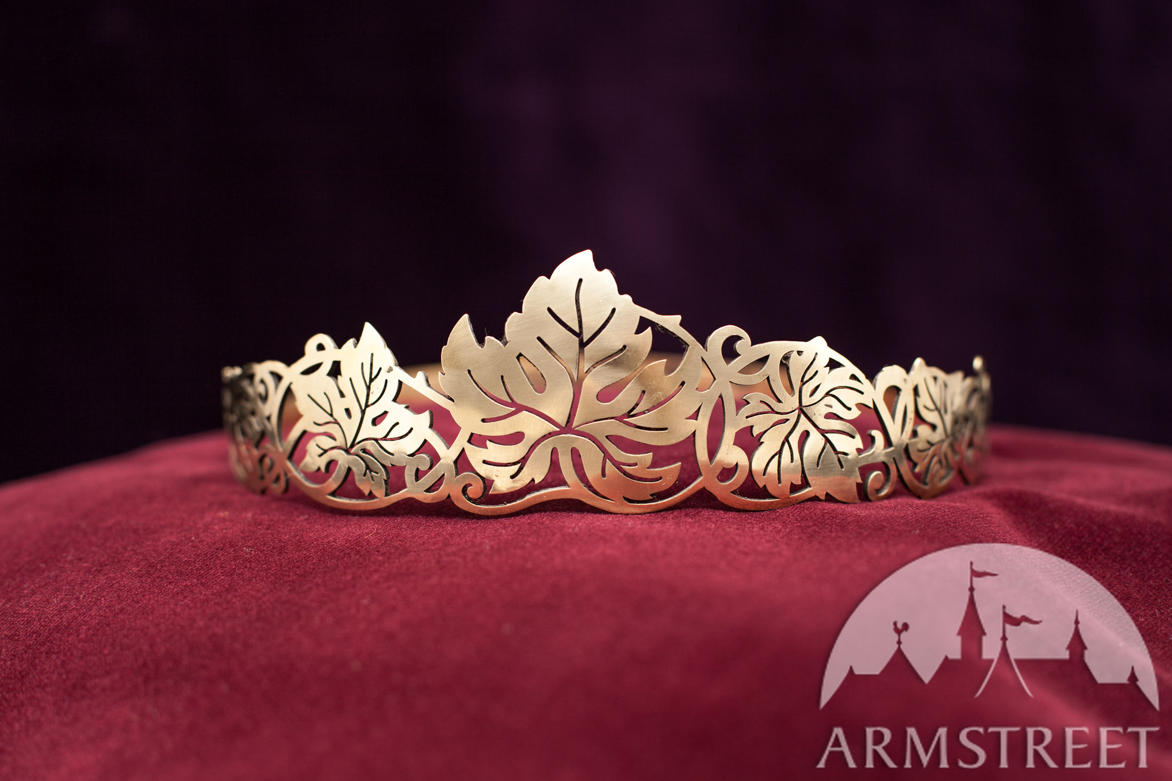 Medieval Brass Crown Circlet Vine Leaves Available in