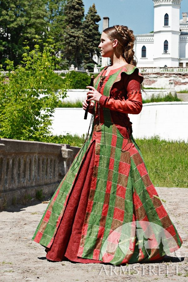 Medieval dress with surcoat 100 natural flax linen