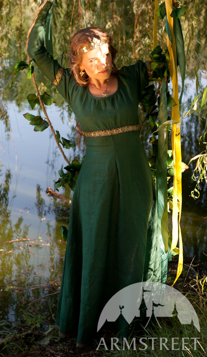 This is an elegant natural flax linen dress Actually this garb rings a bell for late medieval