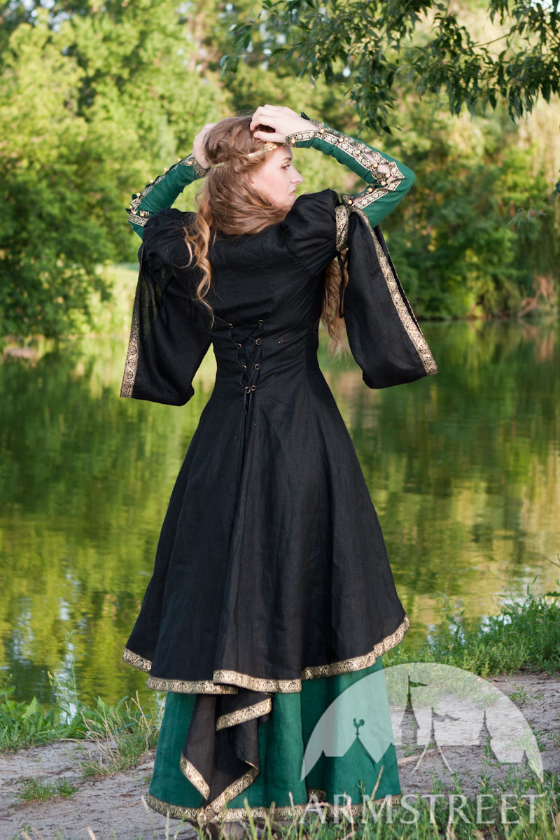 Medieval style flax fantasy dress with overcoat for sale Available in green flax linen blue