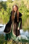 Medieval Style Flax Fantasy Dress With Overcoat