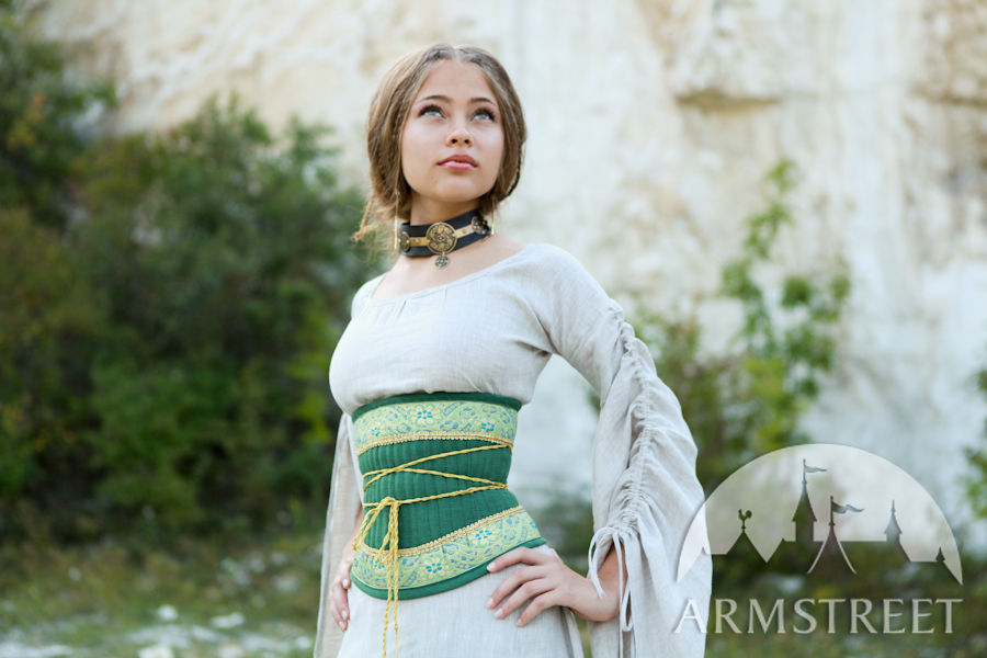Exclusive medieval costume garb corset belt for sale Available in green flax linen blue flax