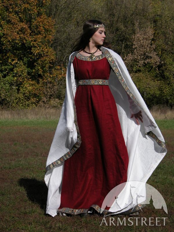 Medieval Franks dress and underdress set  natural flax