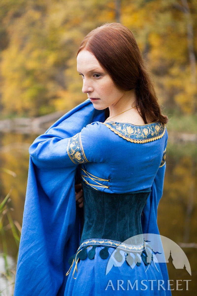 Medieval Linen Dress and Suede Bodice Lady of the Lake