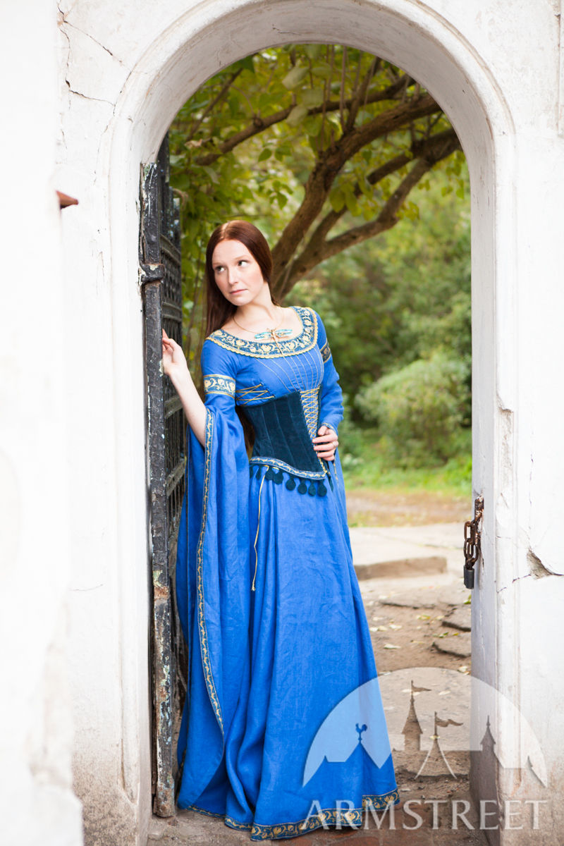 Medieval Linen Dress and Suede Bodice Lady of the Lake Available in green flax linen blue