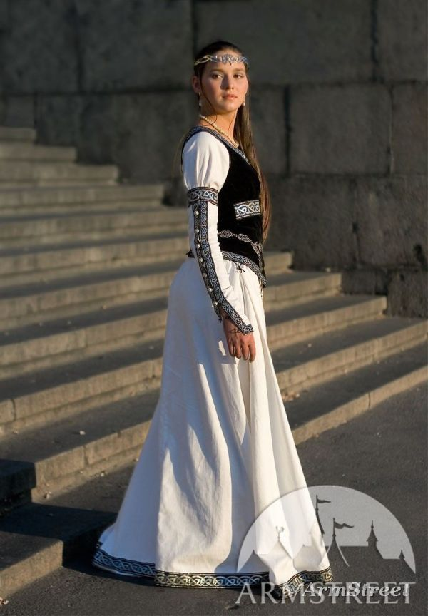 Cotton Medieval Dress With Black Faux Suede Bodice