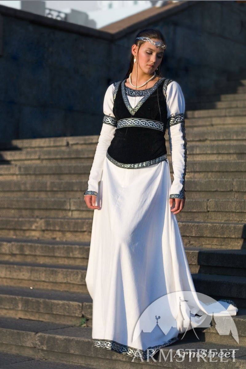 Cotton medieval dress with black faux suede bodice for