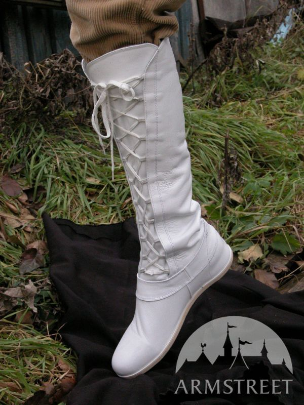 Medieval White Fantasy High Forest Boots for sca and