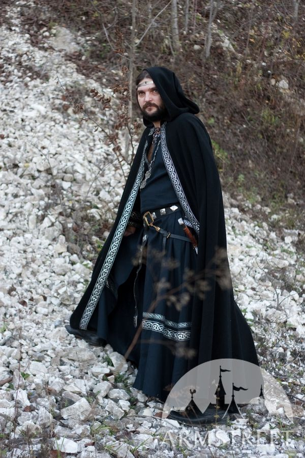 Medieval wool black cloak with original celtic trim for sale Available in black wool ivory